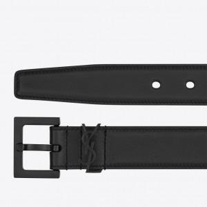 Saint Laurent Monogramme 30MM All Black Belt