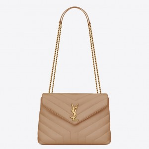 Saint Laurent Loulou Small Bag In Dark Beige Leather