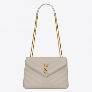 Saint Laurent Loulou Small Bag In White Matelasse Leather