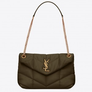 Saint Laurent Loulou Puffer Small Bag In Green Lambskin