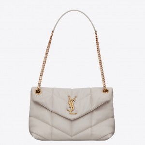 Saint Laurent Small Loulou Puffer Bag In White Lambskin