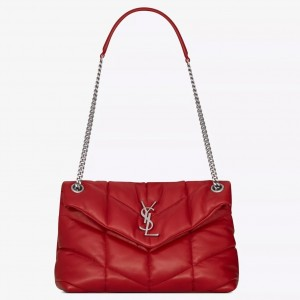 Saint Laurent Loulou Puffer Small Bag In Red Lambskin