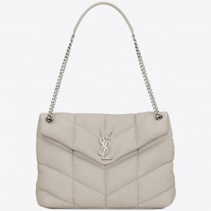 Saint Laurent Loulou Puffer Small Bag In White Lambskin