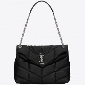 Saint Laurent Loulou Puffer Medium Bag In Black Lambskin
