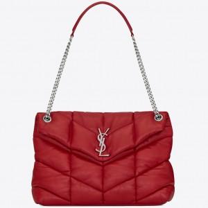 Saint Laurent Loulou Puffer Medium Bag In Red Lambskin