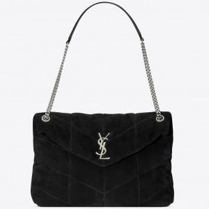 Saint Laurent Loulou Puffer Medium Bag In Black Suede