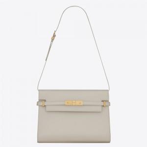 Saint Laurent Manhattan Baguette Bag In White Calfskin