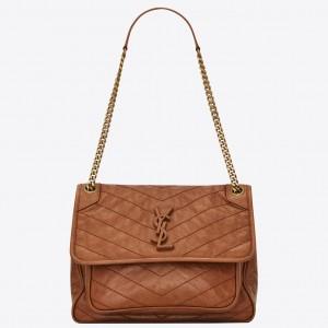 Saint Laurent Medium Niki Bag In Brown Calfskin