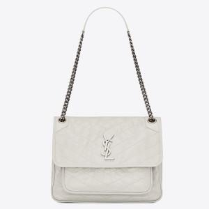 Saint Laurent Large Niki Chain Bag In White Crinkled Leather