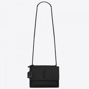 Saint Laurent Sunset Medium All Black Leather Bag