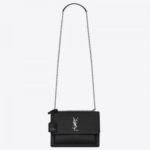 Saint Laurent Sunset Medium Bag In Noir Calfskin