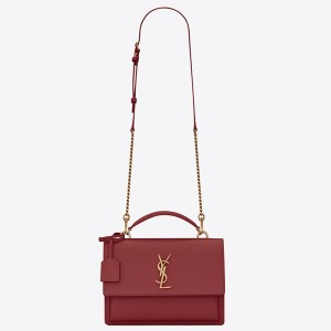 Saint Laurent New Medium Sunset Bag In Red Calfskin