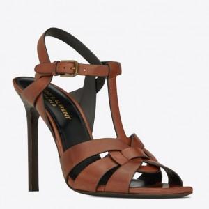 Saint Laurent Tribute High Heel Sandals In Brown Calfskin
