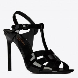 Saint Laurent Tribute High Heel Sandals In Black Patent Leather
