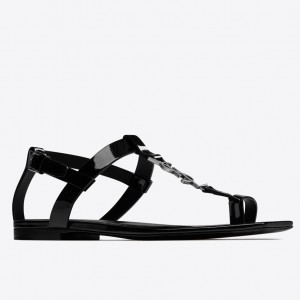 Saint Laurent Cassandra Flat Sandals In Black Patent Leather