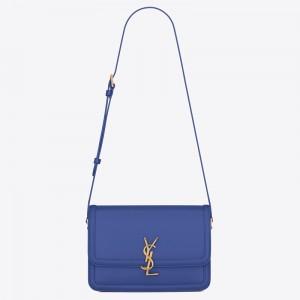 Saint Laurent Solferino Medium Bag In Blue Box Calfskin