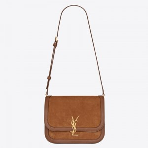Saint Laurent Solferino Medium Soft Bag In Brown Suede