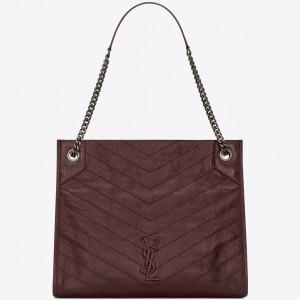 Saint Laurent Medium Niki Shopping Bag In Bordeaux Leather