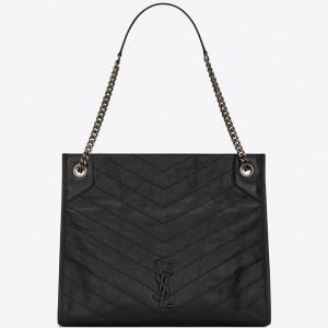Saint Laurent Medium Niki Shopping Bag In Black Leather