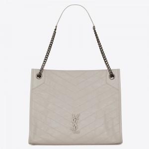 Saint Laurent Medium Niki Shopping Bag In White Leather