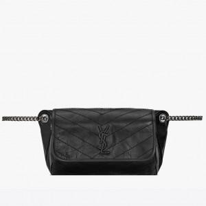 Saint Laurent Niki Body Bag In Black Crinkled Vintage Leather