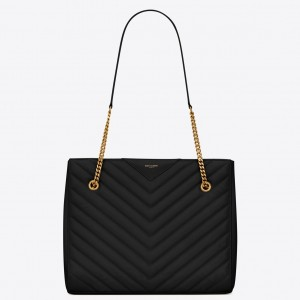 Saint Laurent Tribeca Small Shopping Bag In Black Grained Leather