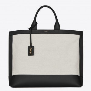 Saint Laurent Tag Shopping Bag In Canvas And Black Leather