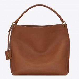 Saint Laurent Tag Hobo Bag In Brown Calfskin