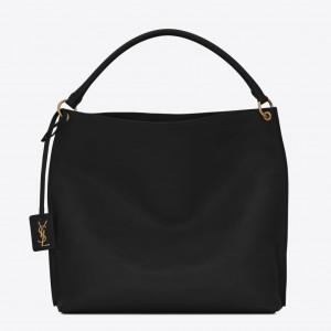 Saint Laurent Tag Hobo Bag In Black Calfskin