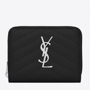 Saint Laurent Compact Zip Around Wallet In Noir Leather