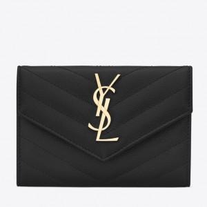 Saint Laurent Small Envelope Wallet In Black Leather
