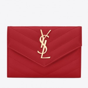 Saint Laurent Small Envelope Wallet In Red Leather