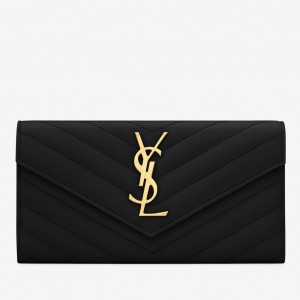 Saint Laurent Large Monogram Flap Wallet In Black Grained Leather