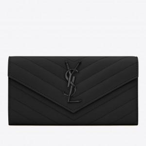 Saint Laurent Large Monogram Flap All Black Wallet