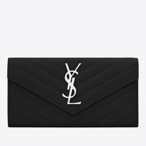 Saint Laurent Large Monogram Flap Wallet In Noir Grained Leather