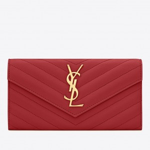 Saint Laurent Large Monogram Flap Wallet In Red Grained Leather