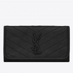 Saint Laurent Niki Large Wallet In Black Crinkled Vintage Leather