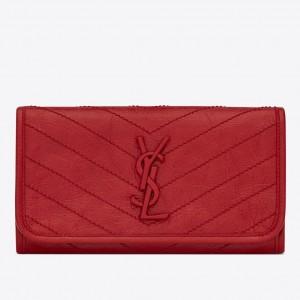 Saint Laurent Niki Large Wallet In Red Crinkled Vintage Leather