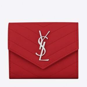 Saint Laurent Compact Tri Fold Wallet In Red Leather