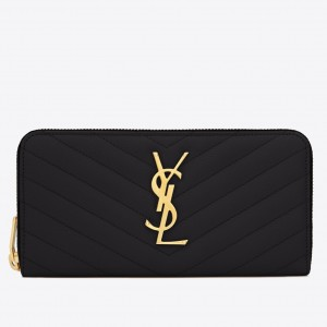 Saint Laurent Monogram Zip Around Wallet In Black Grained Leather