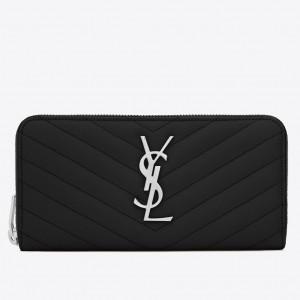 Saint Laurent Monogram Zip Around Wallet In Noir Grained Leather