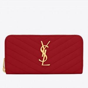 Saint Laurent Monogram Zip Around Wallet In Red Grained Leather