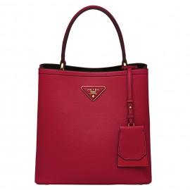 Prada Red Saffiano North South Double Medium Bag