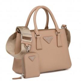 Prada Galleria Micro Bag In Beige Saffiano Leather