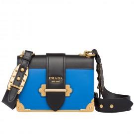 Prada Cahier Shoulder Bag In Blue Hydra /Black Leather