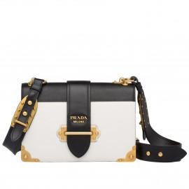 Prada Large Cahier Bag In White/Black Leather