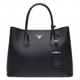 Prada Black Saffiano Double Medium Bag