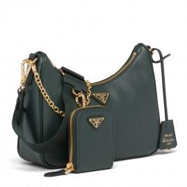 Prada Re-Edition 2005 Shoulder Bag In Green Saffiano Leather
