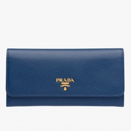 Prada Continental Wallet In Blue Saffiano Leather
