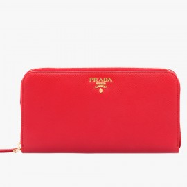 Prada Zipped Wallet In Red Saffiano Leather